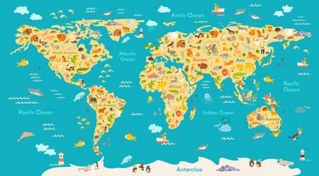 Vektor für Animal map for kid. World vector poster for children, cute illustrated. Preschool cartoon globe with animals. Oceans and continent: South America,Eurasia,North America,Africa, Australia.Baby world map - Lizenzfreies Bild