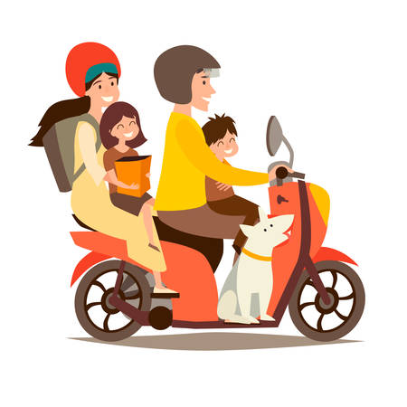 Illustration pour Happy family on scooter. Man and woman with children and dog on motorcycle vector illustration. People drive motorbike. Retro scooter cartoon flat design, isolated on white background - image libre de droit