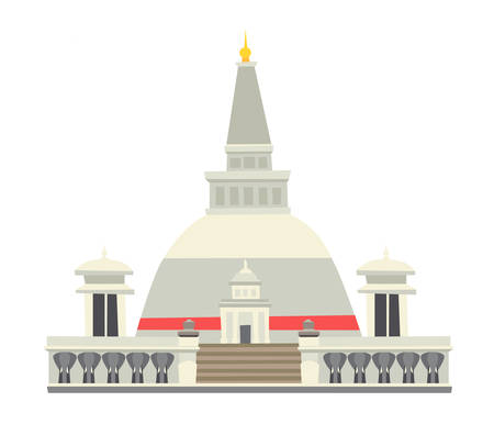 Illustration pour Buddhist stupa vector illustration. Historic famous temple. Asian architecture, traditional buddhist temple at Sri Lanka. Isolated icon on white background - image libre de droit
