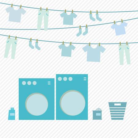 Washing day, flat vector design