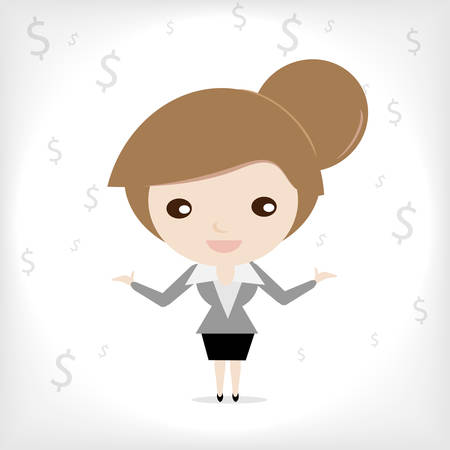Cute cartoon business woman talk about money with dollar
