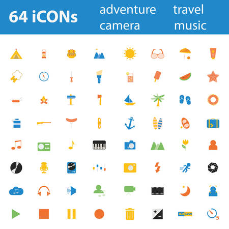 64 Quality design modern vector illustration icons set. As Adventure icon, Camping icon, Travel icon, Summer icon, Beach icon, Music icon, Camera icon, Leisure icon.