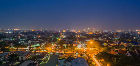 long exposure shot image of Chiang Mai the old city  view from high angle spot .