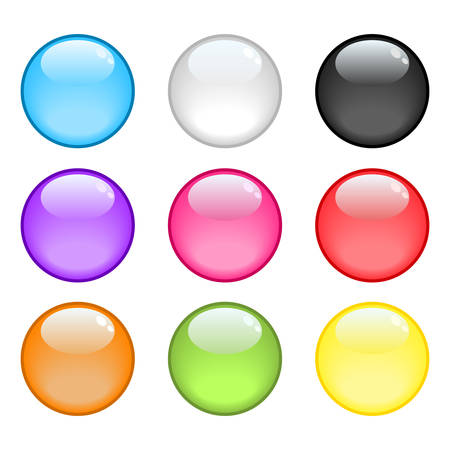 A collection of 9 colorful glossy spheres