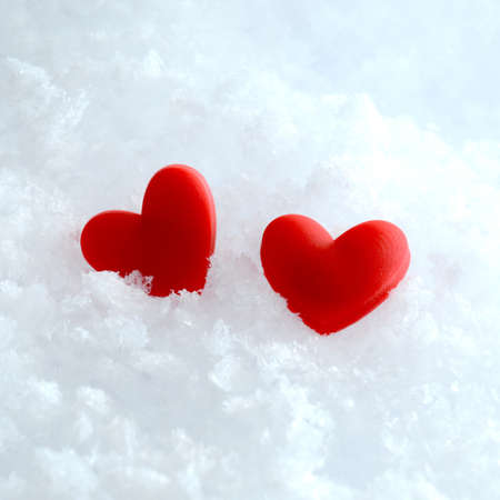 Studio macro of two red hearts lying in the snow. Copy space.