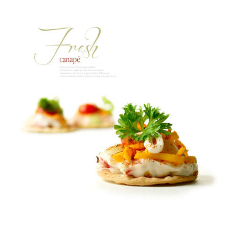 A curated image from my FINE series set  Macro of tomato and mayonnaise canapes with grated chilli cheese against a white background  The perfect image for a restaurant or dinner invitation design  Copy space