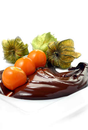 Fresh Physalis fruits in melted chocolate against a white background  The perfect image for a gourmet dessert menu design  Copy space