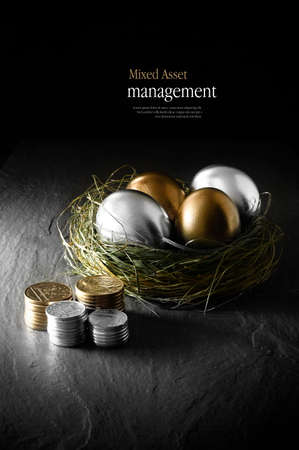 Foto de Concept image for mixed asset financial management. Mixed gold and silver goose eggs in a grass birds nest against a black background. Copy space. - Imagen libre de derechos