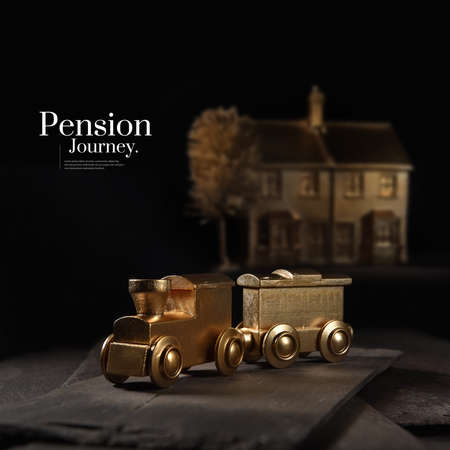 Photo for A unique and original concept image depicting pension investment journeys and financial transfers. Image whor with creative lighting with generous accommodation for copy space. - Royalty Free Image