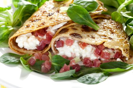 filled pancake with cottage cheese and ham