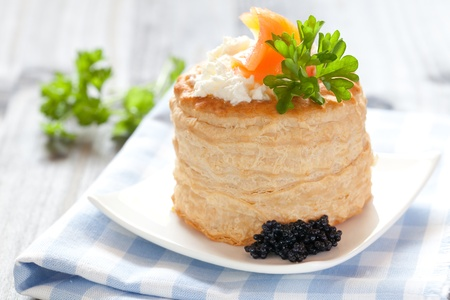 fresh vol au vent with cream cheese and salmon