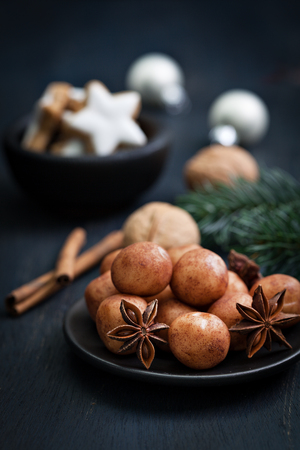 marzipan confectionery on a plate for christmas