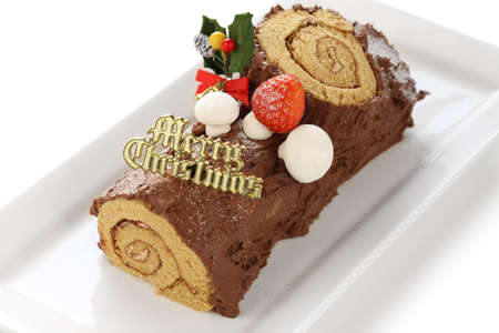homemade buche de noel, chocolate yule log christmas cake