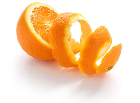 orange peel, orange rind, on white background