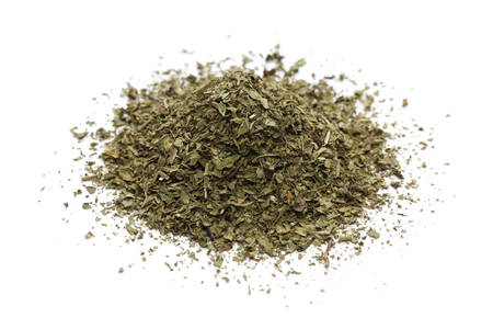 pile of dried mint  on white