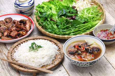 bun cha, grilled pork rice noodles and herbs and vietnamese cuisine