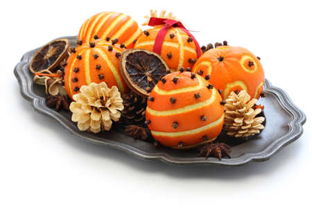 Photo for clove orange pomander balls, handmade christmas decoration - Royalty Free Image