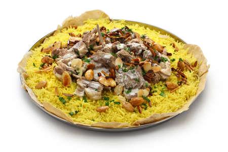 Photo pour mansaf, Jordanian national dish isolated on white background - image libre de droit