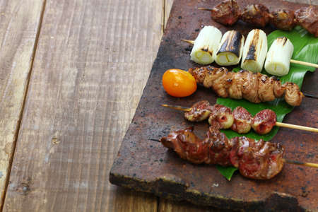 Foto de Japanese grilled chicken skewers variety - Imagen libre de derechos