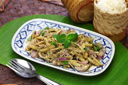 Photo for sup no mai, spicy bamboo shoot salad, thai cuisine - Royalty Free Image