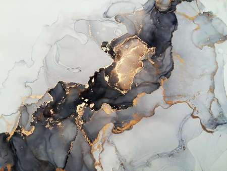 Photo for Luxury abstract fluid art painting background alcohol ink technique black and gold - Royalty Free Image