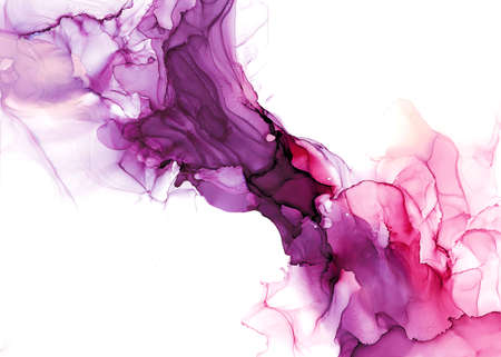 Photo pour Abstract fluid art painting. Transparent overlayers of alcohol inks of purple and maroon ombre colors. - image libre de droit