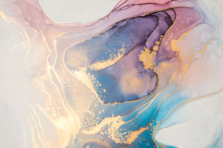 Photo pour Luxury abstract fluid art painting background alcohol ink technique turquoise and lilac with gold glitter. Marble texture - image libre de droit