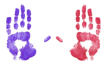 red and blue finger painted hand prints