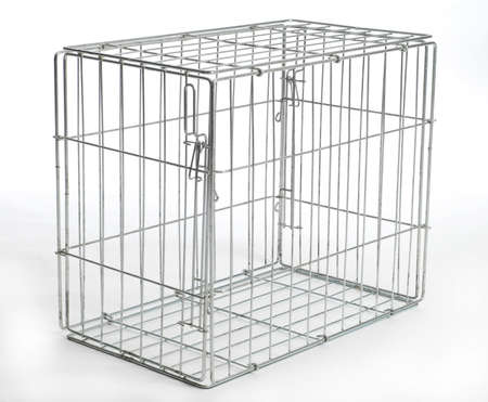Photo for wire dog crate or animal cage with reflection on white background - Royalty Free Image