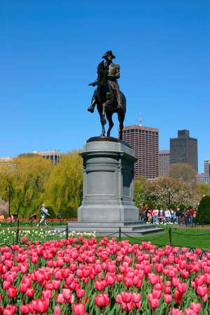 View of Boston Public Garden in spring