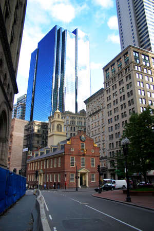 The Old State House, the oldest surviving public building in Boston, was built in 1713 to house the government offices of the Massachusetts Bay Colony.