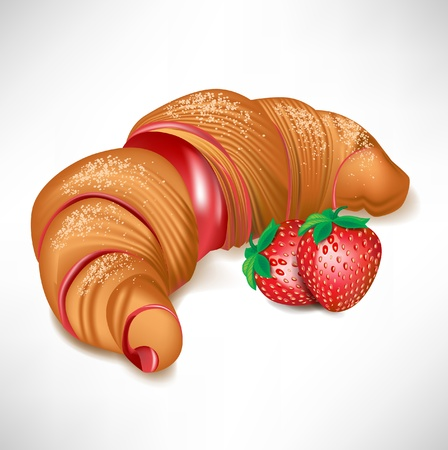 croissant with strawberry cream filling isolated
