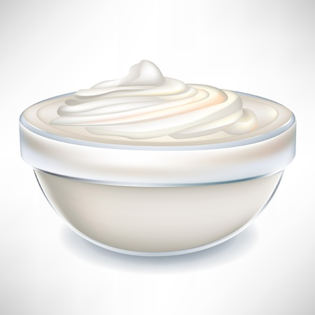 yogurt cream in transparent bowl isolated on white