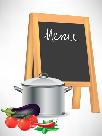 menu blackboard and cooking pot with vegetables isolated
