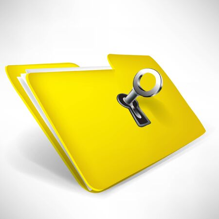 empty yellow folder with key isolated on white
