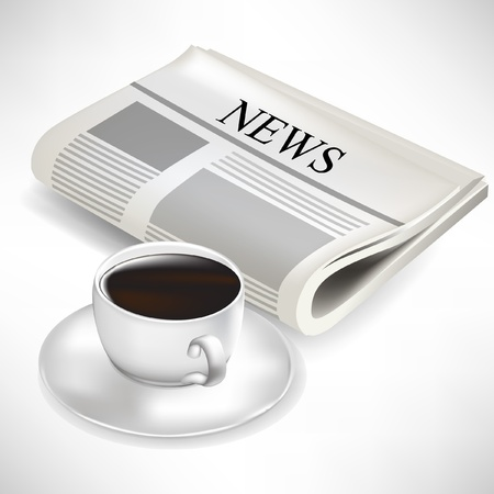 newspaper and coffee cup isolated on white background