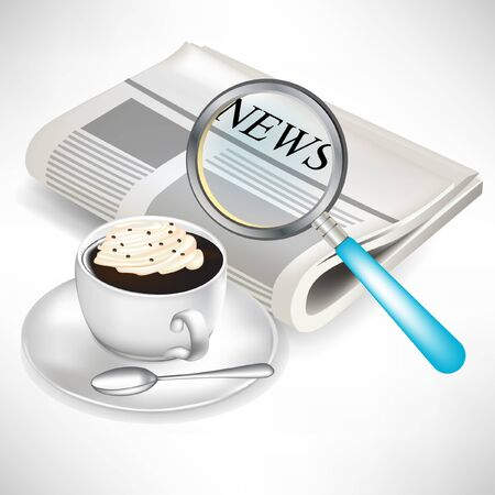 newspaper with magnifying glass and coffee with cream isolated