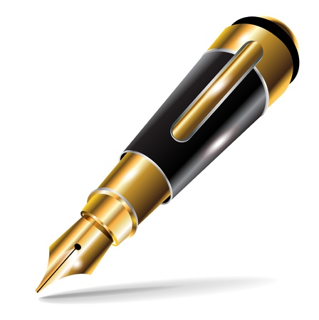 single miniature fountain luxury pen on white