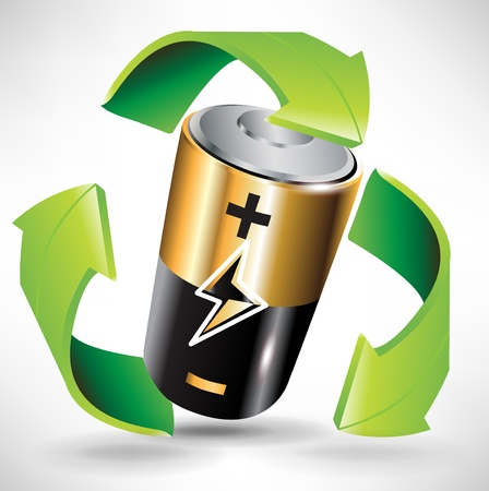 battery recycle concept with battery and green arrows