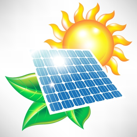 Ilustración de solar energy panel with sun and leaves; alternative energy icon - Imagen libre de derechos