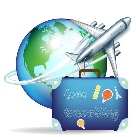 Ilustración de airplane with globe and travel suitcase - Imagen libre de derechos