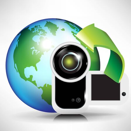 camera and earth globe; broadcast/ download concept