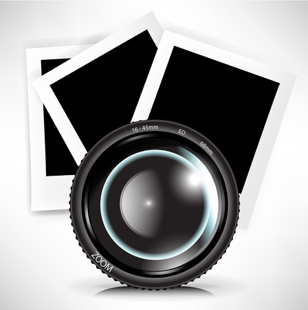 camera photo lens with photograph illustration