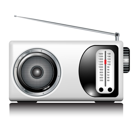 retro white radio on white