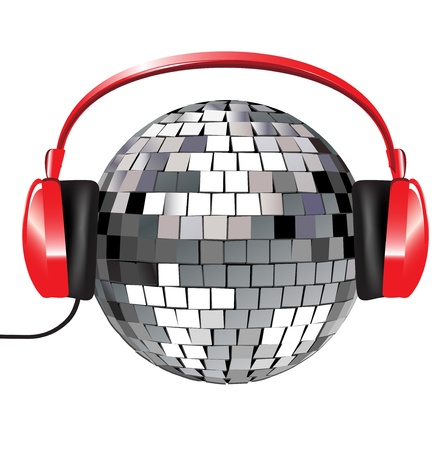 disco ball with red music headphones on white