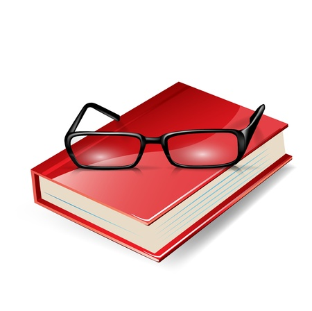 reading glasses on red book isolated on white