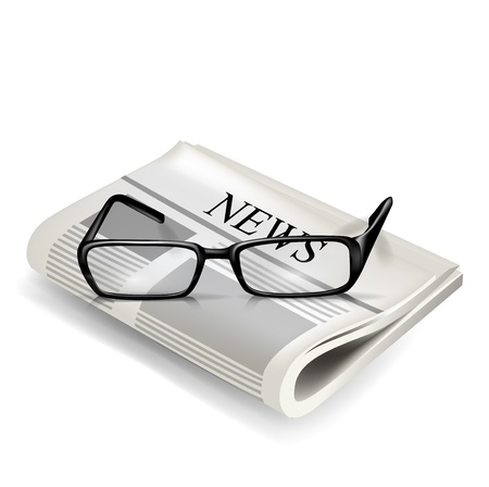 reading glasses and newspaper isolated on white