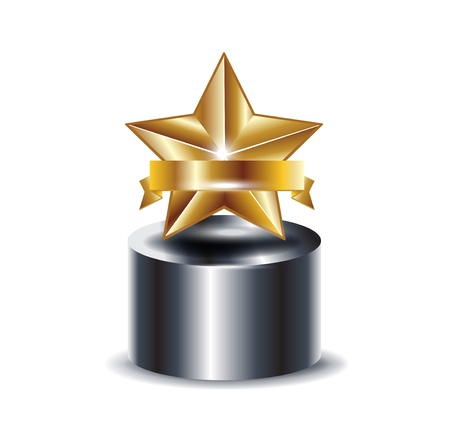 trophy with golden star isolated on white