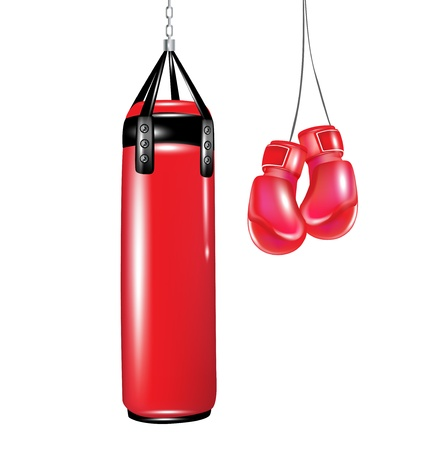 punching bag and boxing gloves isolated