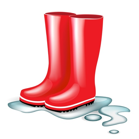 red rubber boots in splash of water isolated